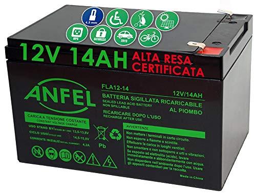 BATTERIA RICARICABILE USO CICLICO PIOMBO 12V Volt 14Ah PER BICI ELETTRICHE 6DZM-