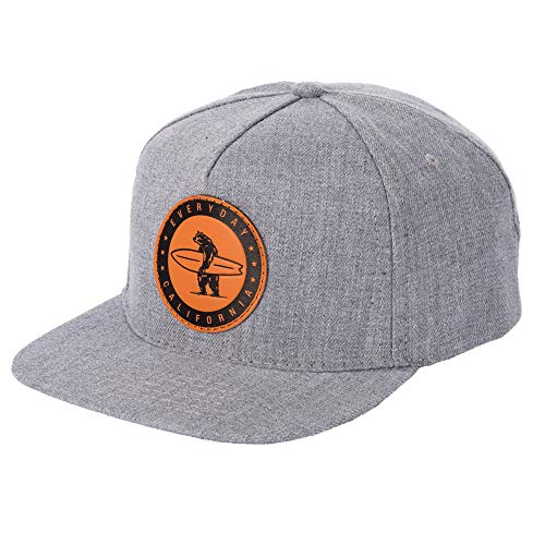 Everyday California 'Marine Layer' Snapback Grey Surfing Hat - Flat Brim Baseball Style Cap with Vegan Leather Patch