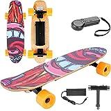Skateboard Elettrico con Telecomando, Longboard 7 Strati d'Acero Canadese E-Pattino per Adolescenti e Adulti, Max 20 km/h a 3 velocità Regolabile, Motore da 350W (Orange)