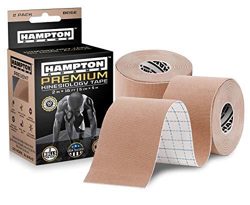 (2 Pack) Premium Kinesiology Tape   Athletic Tape Supports & Protects Muscles, Knees, Shoulders & Plantar Fasciitis   Waterproof & Hypoallergenic   Beige Uncut Kinesiology Tape