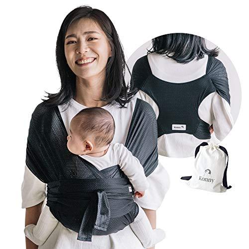 Konny babytrage sommer,ultra-leicht, hassle-free-baby-verpackungs-riemen,neugeborene, kleinkinder bis 44 lbs kleinkinder,kühl und atmungsaktiv stoff,sensible schlaf solution (schwarz, 2xl)