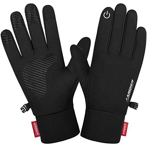 Lapulas Handschuhe Herren Damen Touchscreen Handschuhe Outdoor Sporthandschuhe Leichte Laufhandschuhe Warm Winddichte rutschfest für Fahrrad Laufen Radfahren Wandern (Kohlenschwarz, L)