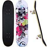 Skateboard, 31 x 8 Zoll Komplett-Skateboard für Anfänger, 7...