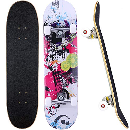 Skateboard, 31 x 8 Zoll Komplett-Skateboard für Anfänger, 7 Ahorn Double Kick Deck Concave Cruiser Skateboard, geeignet für Jungen, Mädchen, Jugendliche und Erwachsene
