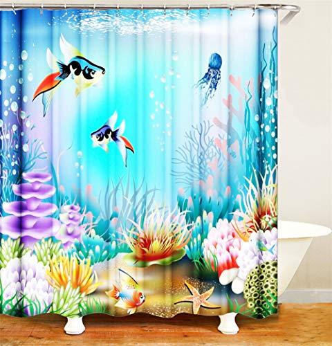 ZZZdz Vissen u koraalrode zee-plant in de oceaan. Waterdicht. Eenvoudig over te dragen. 12 vrije haken. 3D Hd-druk. Verbleekt niet. Douchegordijn 180 x 180 cm.