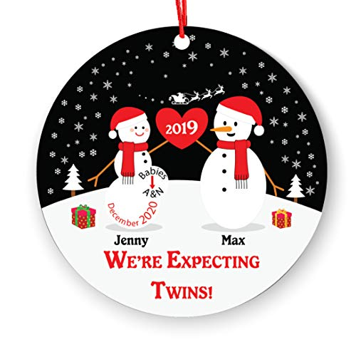 We're Expecting Twins Christmas Ornament - Personalized Christmas Ornament...
