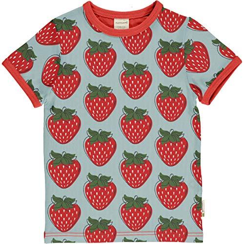 Maxomorra T-Shirt/Biobaumwolle/hellblau mit Erdbeeren 74/80