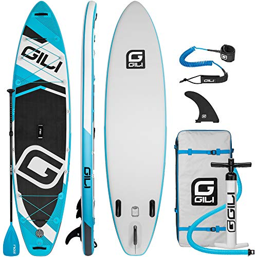 GILI Adventure Inflatable Stand Up Paddle Board | 11' Long x 32' Wide x 6' Thick | Durable and Lightweight Touring SUP | Wide & Stable Stance