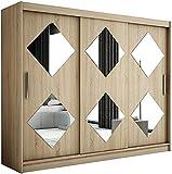 Dormitorio sala de estar gabinete puerta corredera diseño moderno con armario espejo, correa colgante y estante,Wood Color