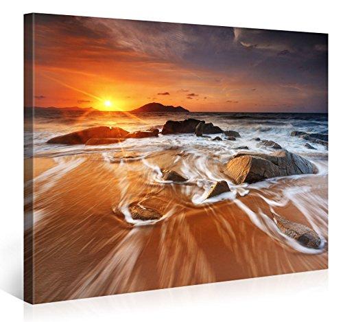 Gallery of Innovative Art – Bright Sun Island Beach – 100x75cm – Larga Stampa su Tela per Decorazione murale – Immagine su Tela su Telaio in Legno – Stampa su Tela Giclée – Arazzo Decorazione murale
