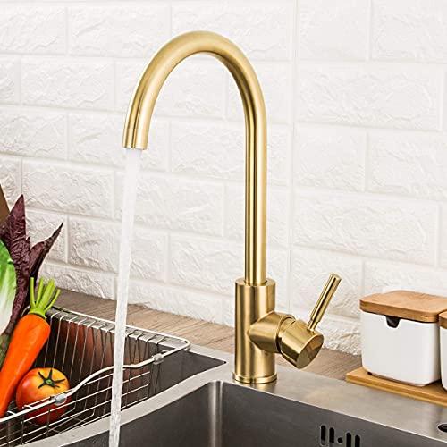 GAPPO Monobloc Kitchen Sink Taps Lead Free 360 Degree Swivel High Arc Single Lever Bathroom Mixer Tap, Gold