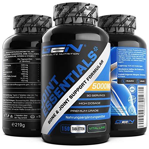 Joint Essentials - 150 comprimidos - Altamente dosificado con 5000 mg al día - Glucosamina + Condrotin + MSM + Ácido Hialurónico + Colágeno + Vitamina C + Extracto de Pimienta Negra