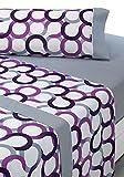 SABANALIA - Juego de sábanas Estampadas Aros (Disponible en Varios tamaños y Colores), Cama 160, Lila