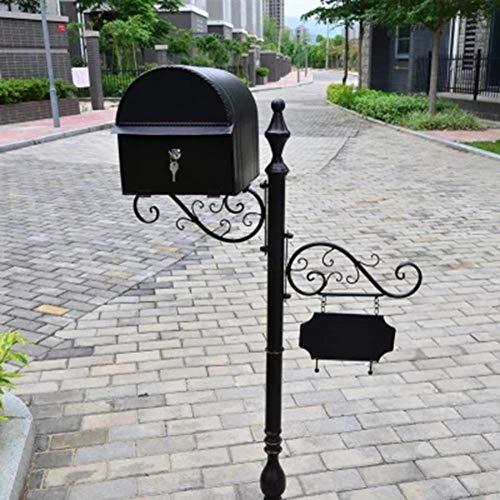 LSLMCS Schmiedeeisen Retro Villa Briefkasten Post-Hochzeit im Freien Props Regenfest Posteingang Tür Briefkästen Regen Posteingang Postkarte Box Letter Box (Color : Black)