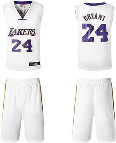 YDYL-LI Los Angeles Lakers 24  Kobe Bryant Uniforme De Basket-Ball Jersey Uniformes Veste De Sport sans Manches Compétition Uniformes Fans Uniformes De Basket-Ball (Taille  S-XXXL),blanc,XXL