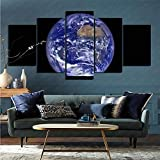 mmkow Oil Canvas 5 Piece Set Earth from Space Life Artist Home Decoration 80x150cm (Frameless)