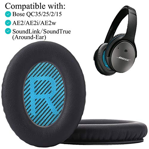 Krone Kalpasmos Premium Bose QC35 Headphones Replacement Ear Pads, Fits QuietComfort 35 ii / QC25 / QC2 / QC15 / Ae2 / Ae2i / Ae2w / SoundTrue & SoundLink(Over-Ear), Memory Foam Cushion – Black