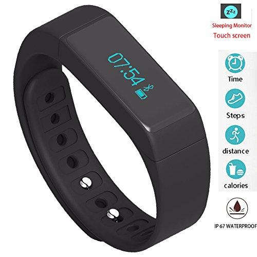 Ytesky fitness contapassi Tracker Bluetooth sport bracciale Activity Tracker con conta passi calorie di monitoraggio del sonno pista sport fitness intelligente Wristband impermeabile touch screen, Black