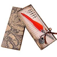 Songowe書道フェザーディップライティングペン交換のヒントディップペンライティングペンセットインクwellセット付き彫刻ペンヴィンテージフェザーペンインクセット旧タイプフォント赤