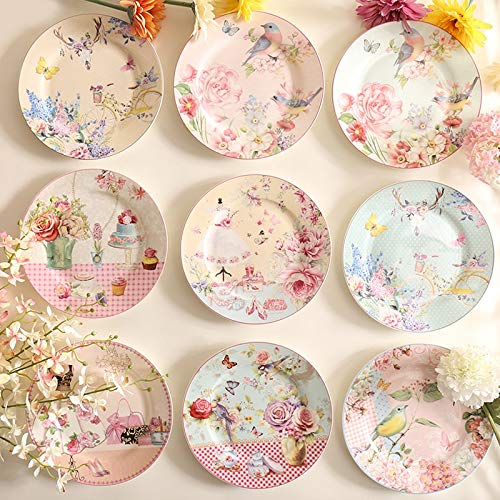 Pastoral Bone Dishes and Plates Porcelain Cake Dish Pastry Fruit Tray Ceramic Tableware Steak Dinner Plates