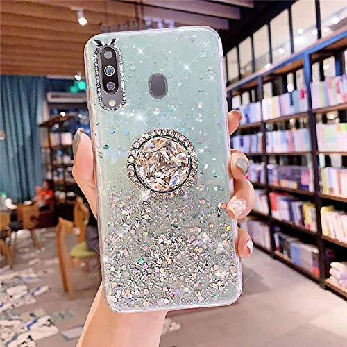 Herbests Kompatibel mit Samsung Galaxy M30 Hülle mit Ring Halter Ständer Glänzend Bling Strass Glitzer Stern Transparent TPU Silikon Schutzhülle Handyhülle Tasche Crystal Clear Case,Grün