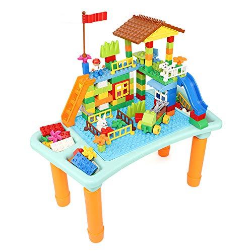 EP-Toy Grand Ensemble de Table de Brique des Enfants, Bureau Multifonctionnel de Jouets de bébé avec la boîte de Stockage,B