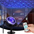 Projector Lights Ocean Wave Water Night Light Calming Autism Sensory Autistic Toys Relax Led Blue Night Projector Lamp Waterproof 3D Water Effect Remote Control for Bedroom Garden Party