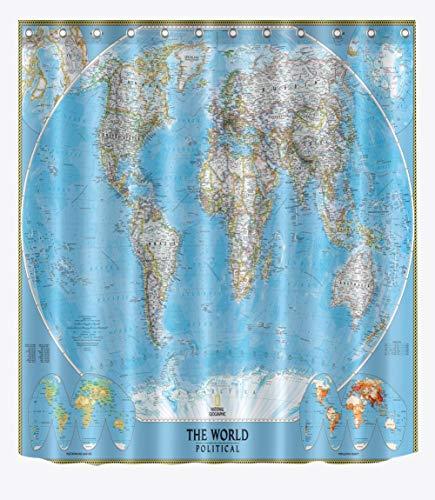 binglinshang Ozeanblau Weltkarte Duschvorhang Rosa Grün Gelb Geografie Karte Wissen Cortina ducha Ganze Welt Wasserdichter Badvorhang, 180 * 200