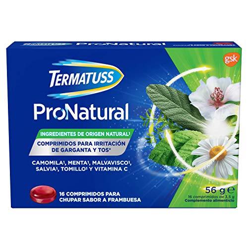 Termatuss Comprimidos para la Tos Seca o con Expectoración, Ingredientes de Origen Natural, Sabor a Frambuesa, 16 Comprimidos para Chupar