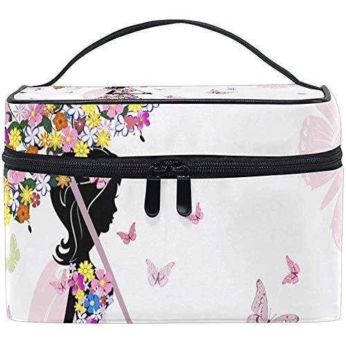 Cosmetic Bag, Flower Girl Travel Makeup Organizer Bag Cosmetic Case Portable Train Case for Women Girls