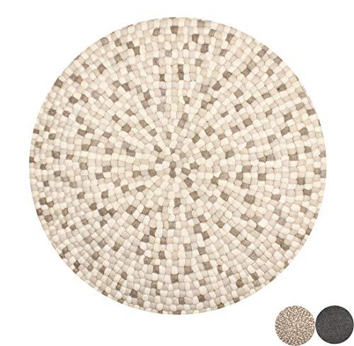 Nimara Isla Teppich rund | Filzkugelteppich aus 100% Wolle | Runder Teppich Ø 160 cm und Ø 90 cm | Wohnzimmerteppich, Kinderzimmerteppich aus Filzkugeln | Runde Teppiche (Weiß/Braun/Sand, 160)