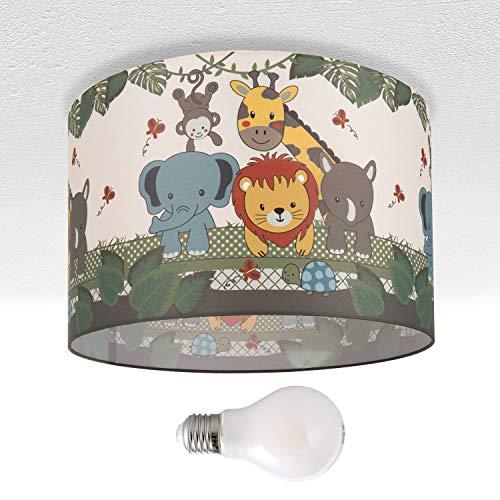 Kinderlampe Deckenlampe LED Pendelleuchte Kinderzimmer, Dschungel-Tiere, E27, Lampenschirm:Grün (Ø45.5 cm), Lampentyp:Deckenleuchte Silber + Leuchtmittel