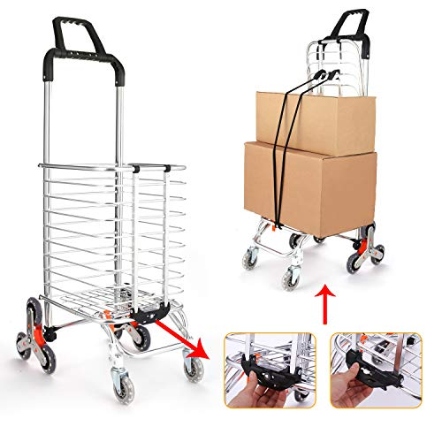 Devo Aluminum Shopping Carts Trolley Portable Foldable Hand Grocery Laundry Cart Utility Carts with Bag, Stair Climbing Trolley (Purple)