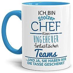 Tasse mit Spruch Chef Innen und Henkel Blau - Kaffeetasse/Mug/Cup - Qualität Made in Germany