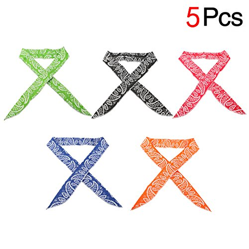 7 COLOR WINGS Ice Cool Scarf Neck Wrap Headband Bandana Cooling Scarf 5pcs (A 5pcs)
