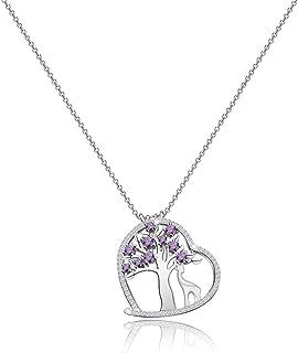 Zuo Bao Giraffe Lover Gift Amethyst Tree of Life Pendant Neckalce with Giraffe Charm Healing Jewelry Gift for Family