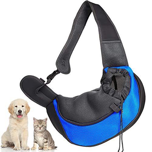 LLMZ Pet Schleuderträger Tasche Welpen Umhängetasche Tragetasche Beutel Atmungsaktiv Mesh Transporttasche mit Verstellbare Schultergurt für Outdoor-Reisen, Spaziergänge, Blau