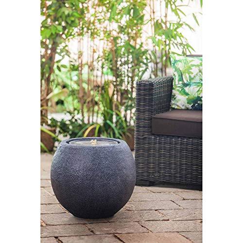 Heissner Gartenbrunnen Ball Black LED