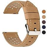 Fullmosa 5 Colori per Cinturino di Ricambio, Breeze Cinturino in Pelle per Orologio da Donna e Uomo,Adatto a Orologio Tradizionali e Smart Watch di18mm,20mm,22mm o 24mm,20mm Cachi