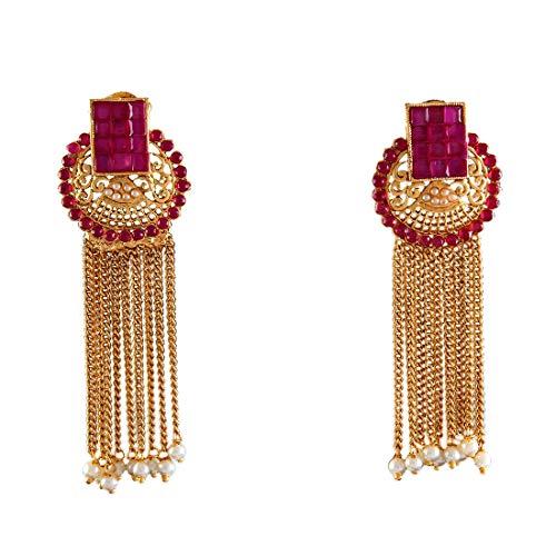 JewelryGift Pendientes largos antiguos chapados en oro con rubíes hechos a mano joyería de diseñador para mujeres y niñas MYE 36-rosa