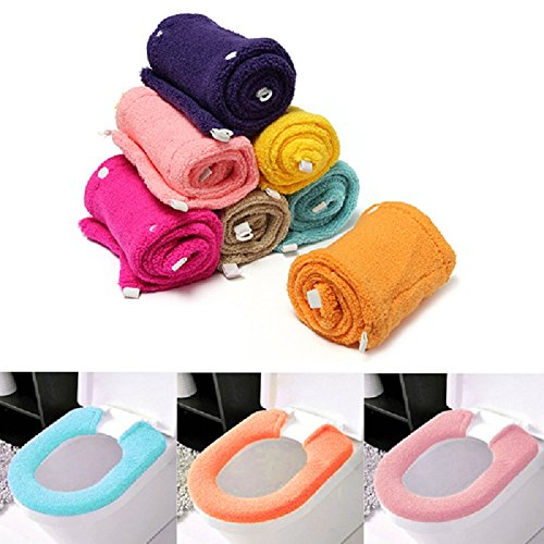 Warmer Toilet Cover Round Seat Pads Best Promotion All Shape Bathroom Washable Button Potty Protector Health(Random Color)