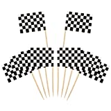 100 Packung Checkered Racing Flagge Party Cupcake Picks Zahnstocher Flagge Abendessen Flaggen Kuchen Topper Dekorationen