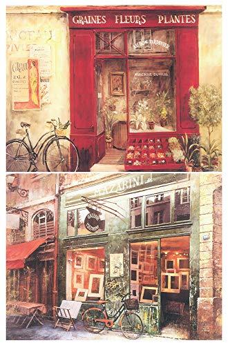Cuadro artístico Decorativo. Set de 2 Unidades de 19 cm x 25 cm x 4 mm unid Adhesivo FÁCIL COLGADO. Adorno Decorativo Pared Ideal para Hogar/Cocina/Cafetería.
