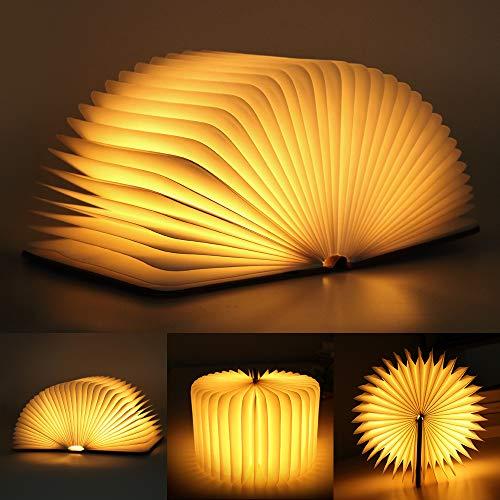 infinitoo Lampada Libro USB Ricaricabile Pieghevole LED Luce | 3 Colori Luce Lampada a Forma di Libro 1700 mAh del Libro per Decorativo,Scrivania,Tavolo Grande, Large Size [16.8x21.5x2.5 cm]