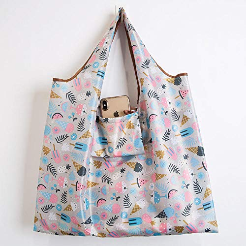 Hayandy Wiederverwendbare einkaufstaschen Frauen Faltbare Einkaufstasche tragbare Tuch eco einkaufstüte Falten große kapazität handtaschen-E Ice Cream