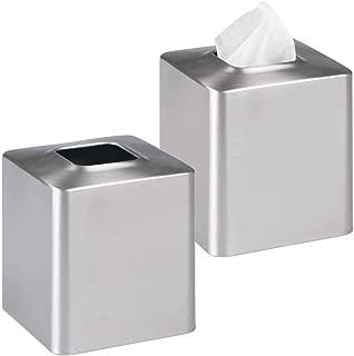 MetroDecor mDesign Facial Tissue Box Cover/Holder for Bathroom Vanity Countertops - Pack of 2, Brushed Stainless Steel