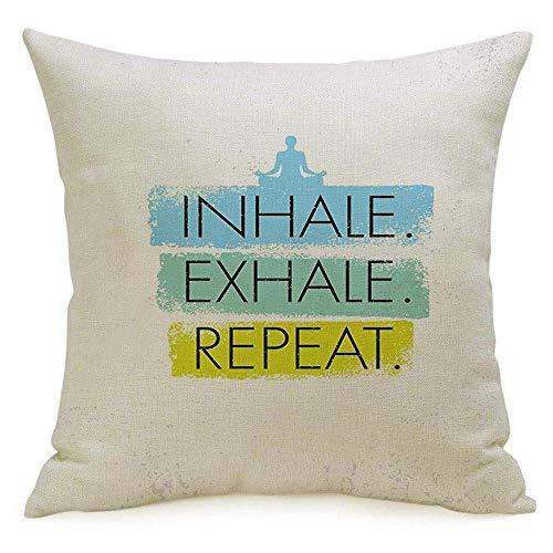 NA Lino Decorativo Funda de Almohada Cuadrada Funda Reed Label Inhale Zen Exhale Nature Repeat Renovables SPA Yoga Meditación Concepto Terapia Diseño Funda de Almohada Cojín Funda para sofá