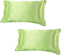 Dehman 2X 100-Percent Silky Satin Hair Beauty Pillowcase (Green, Standard Size,20X26 INCHES)
