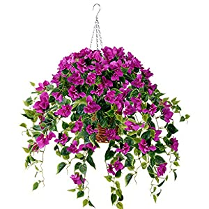 Artificial Flowers Hanging Basket with Bougainvillea Silk Vine Flowers for Outdoor/Indoor, Artificial Hanging Plant in Basket, Ivy Basket Artificial Hanging Plant for Patio Lawn Garden Decor (Purple)