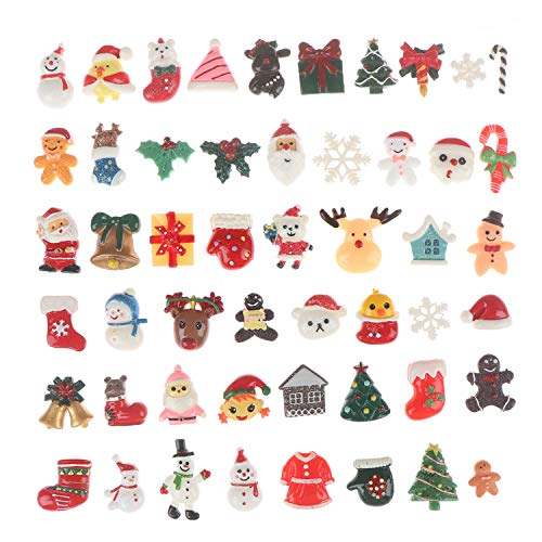 50Pcs Christmas Cute Slime Charms Assorted Resin Flatback Santa Claus Snowman Christmas Tree Embellishment for Slime Party, Craft Making, Ornament Scrapbooking DIY Crafts
